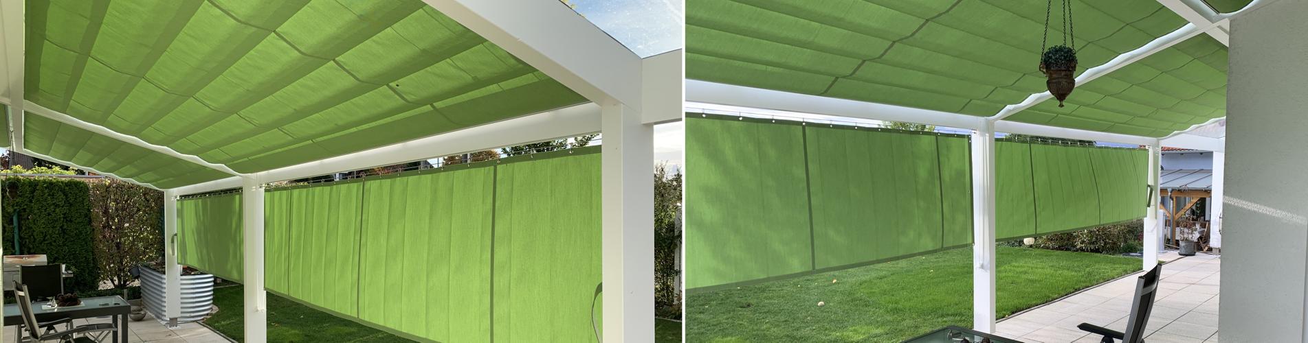 Faltmarkise + Vorhang